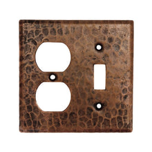 Load image into Gallery viewer, Copper Combination Switchplate, 2 Hole Outlet and Single Toggle Switch