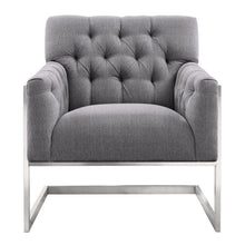 Load image into Gallery viewer, Emily Contemporary Accent Chair in Brushed Stainless Steel with Grey Fabric