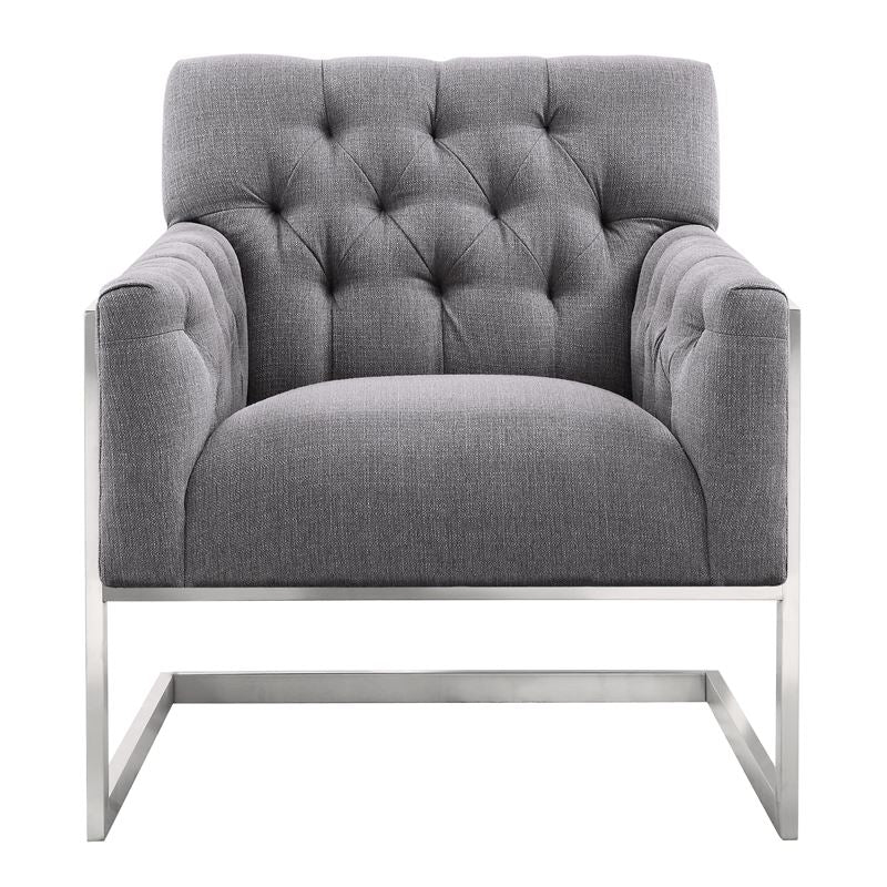 Emily Contemporary Accent Chair in Brushed Stainless Steel with Grey Fabric