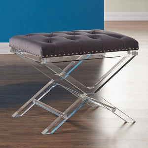 Cody Modern and Contemporary Tufted Ottoman in Gray Velvet with Acrylic Legs