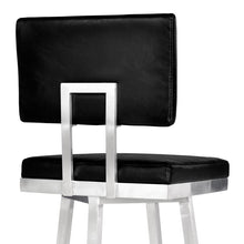 "Load image into Gallery viewer, Balboa 26"" Counter Height Barstool in Brushed Stainless Steel and Vintage Black Faux Leather"