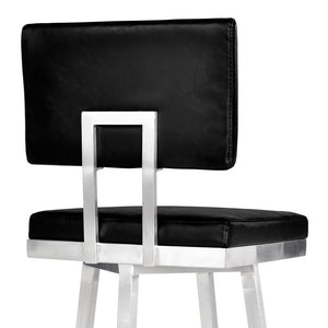 "Balboa 26"" Counter Height Barstool in Brushed Stainless Steel and Vintage Black Faux Leather"
