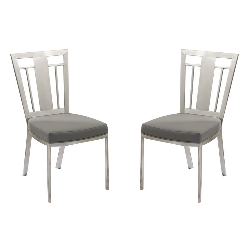 Cleo Contemporary Dining Chair In Gray and Stainless Steel - Set of 2