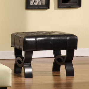 "Central Park 24"" Tufted Black Bonded Leather Ottoman"