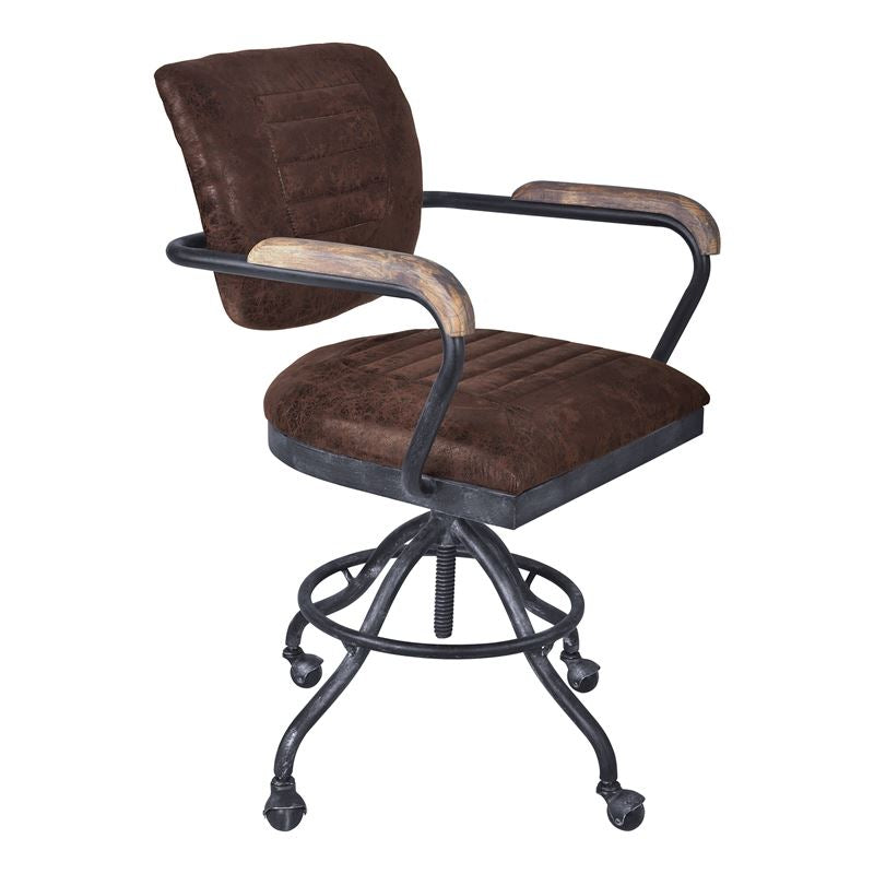 Brice Modern Office Chair in Industrial Grey Finish and Brown Fabric with Pine Wood Arms