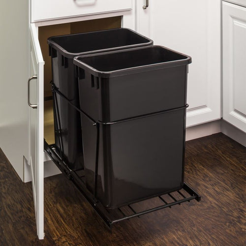 Black 35-Quart Double Pullout Waste Container System