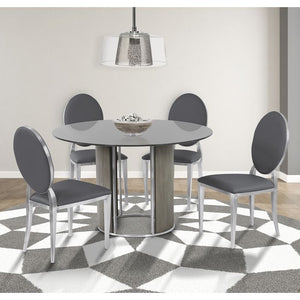Cielo Contemporary Dining Chair in Gray Faux Leather with Brushed Stainless Steel Finish - Set of 2