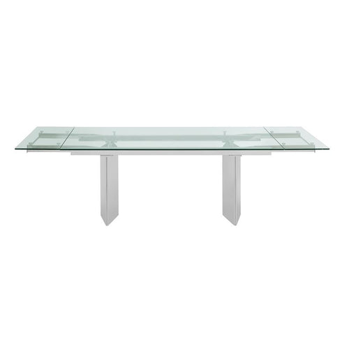 TOWER Stainless Steel / Clear Glass Extendable Dining Table by Casabianca Home