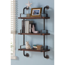 "Load image into Gallery viewer, 40"" Booker Industrial Pine Wood Floating Wall Shelf in Gray and Walnut Finish"