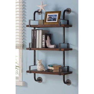 "40"" Booker Industrial Pine Wood Floating Wall Shelf in Gray and Walnut Finish"