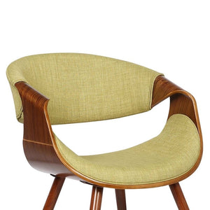 Butterfly Mid-Century Dining Chair in Walnut Finish and Green Fabric