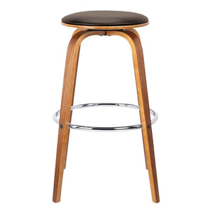 "Harbor 26"" Mid-Century Swivel Counter Height Backless Barstool in Brown Faux Leather with Walnut Veneer"
