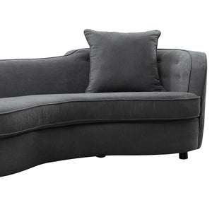 Palisade Contemporary Sofa in Grey Velvet with Brown Wood Legs