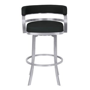 "Prinz 26"" Counter Height Metal Swivel Barstool in Black Faux Leather with Brushed Stainless Steel Finish"