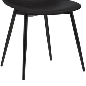 Monte Contemporary Dining Chair in Black Faux Leather with Black Powder Coated Metal Legs
