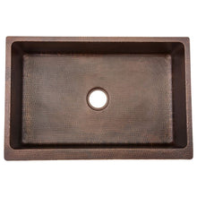 "Load image into Gallery viewer, 33"" Antique Hammered Copper Kitchen Apron Single Basin Sink"