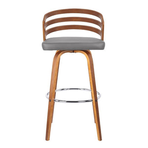 "Jayden 30"" Mid-Century Swivel Bar Height Barstool in Grey Faux Leather with Walnut Veneer"