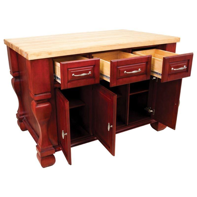 Hardware Resources ISL01 Kitchen Island, Dark Red, TOP NOT INCLUDED