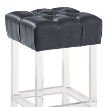 "Load image into Gallery viewer, Kara Contemporary 26"" Counter Height Barstool in Grey Faux Leather with Acrylic Legs"