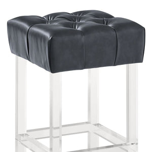 "Kara Contemporary 26"" Counter Height Barstool in Grey Faux Leather with Acrylic Legs"