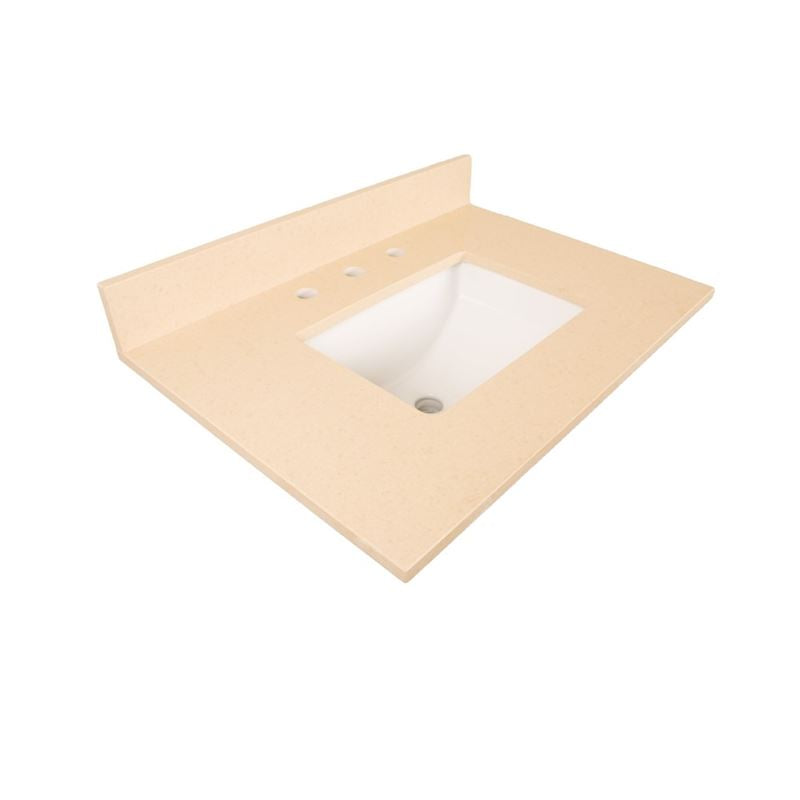 Bellaterra 30 In. Beige Quartz Counter Top With Rectangular Sink 7613-TOP-CR