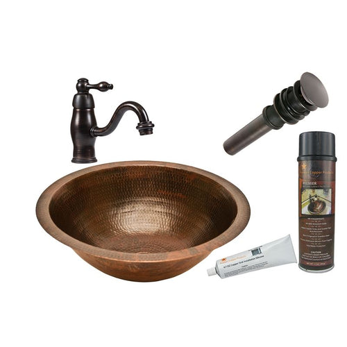 Round Under Counter Hammered Copper Sink with ORB Faucet, Matching Drain