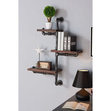 "Load image into Gallery viewer, 30"" Orton Industrial Pine Wood Floating Wall Shelf in Gray and Walnut Finish"