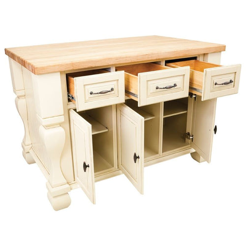Hardware Resources ISL01 Kitchen Island, Antique White, TOP NOT INCLUDED