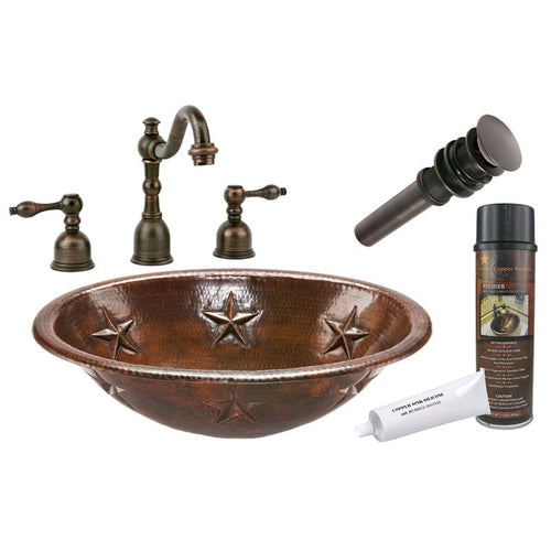 Oval Star Self Rimming Hammered Copper Sink with ORB Widespread Faucet w Drain
