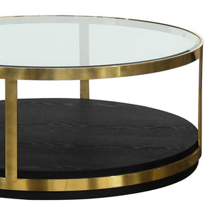 Hattie Contemporary Coffee Table in Brushed Gold Finish and Black Wood