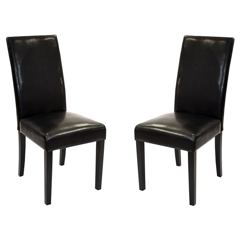 Black Bonded Leather Side Chair Md-014 - Set of 2