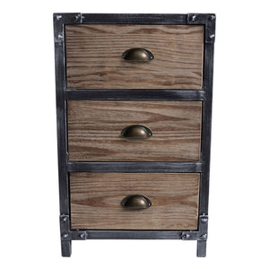 Nyx Industrial 3-Drawer End Table in Industrial Grey and Pine Wood