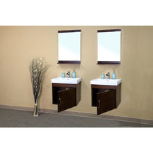 Load image into Gallery viewer, Bellaterra 48.8 In Double Wall Mount Style Sink Vanity Wood  Walnut