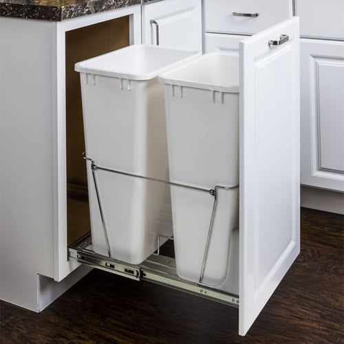 Polished Chrome 50-Quart Double Pullout Waste Container System