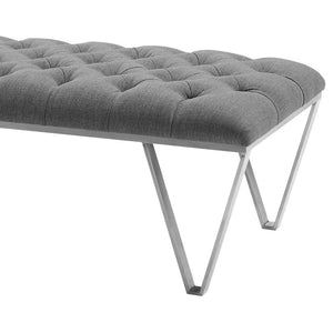 Serene Contemporary Bench in Brushed Stainless Steel with Grey Fabric
