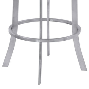 "Prinz 30"" Bar Height Metal Swivel Barstool in Gray Faux Leather with Brushed Stainless Steel Finish"