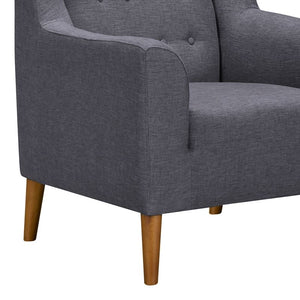 Nubia Mid-Century Accent Chair in Champagne Wood Finish and Dark Grey Fabric