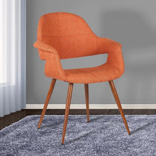 Load image into Gallery viewer, Phoebe Mid-Century Dining Chair in Walnut Finish and Orange Fabric