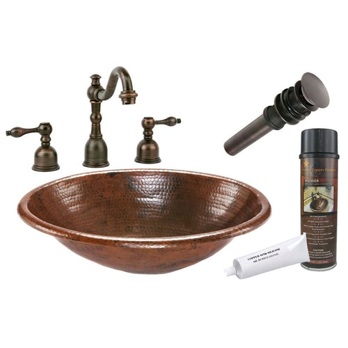 Oval Self Rimming Hammered Copper Sink with ORB Widespread Faucet  w Drain