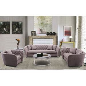 Rhianna Transitional Loveseat in Brown Tufted Chair