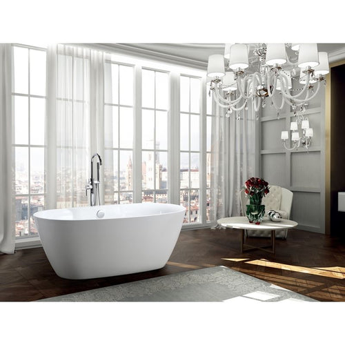 Pisa 63 inch Freestanding Bathtub in Glossy White
