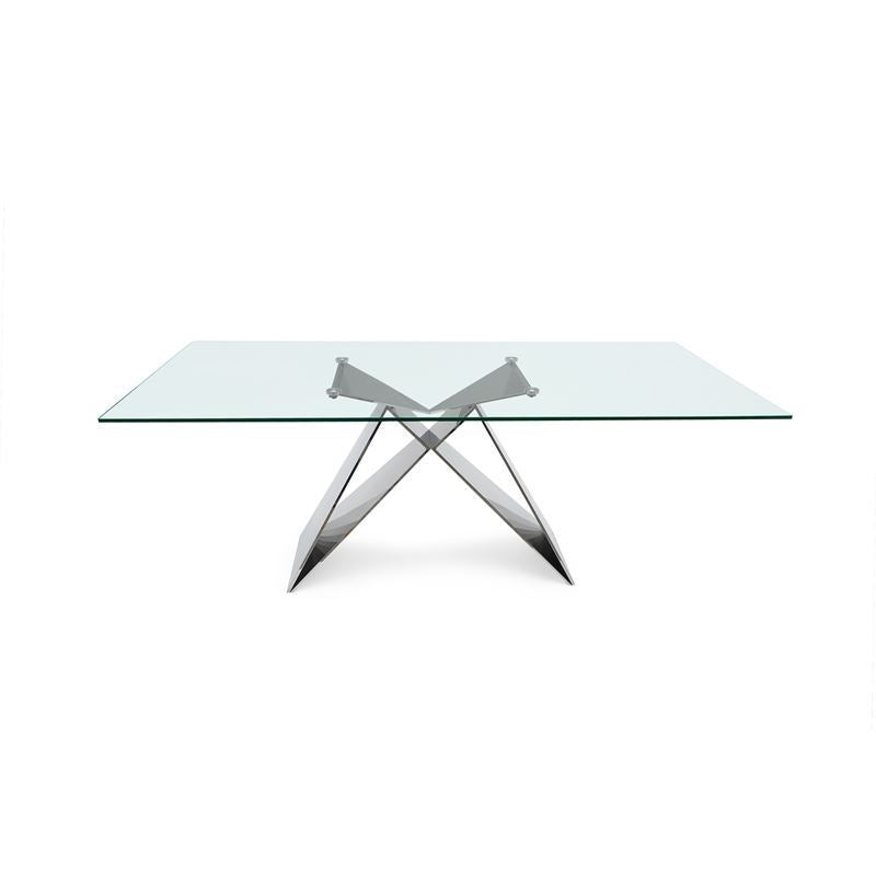 EIFFEL Clear Temp. Glass / Polished Stainless Steel Dining Table
