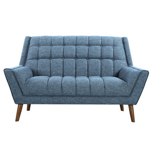 Stupendous Cobra Mid Century Modern Loveseat In Blue Linen And Walnut Legs Squirreltailoven Fun Painted Chair Ideas Images Squirreltailovenorg