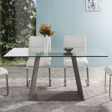 Load image into Gallery viewer, Bravo Contemporary Dining Table In Dark Sonoma Base With Clear Glass