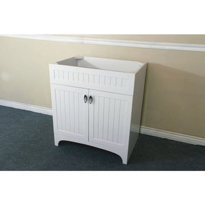 Bellaterra 32 In Single Sink Vanity Wood White Cabinet Only