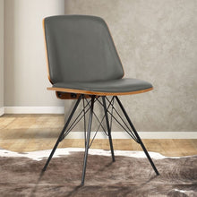 Load image into Gallery viewer, Inez Mid-Century Dining Chair in Gray Faux Leather with Black Powder Coated Metal Legs and Walnut Veneer Back