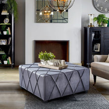 Load image into Gallery viewer, Gemini Contemporary Ottoman in Grey Velvet with Piping Accents and Wood Legs