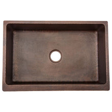 "Load image into Gallery viewer, 33"" Hammered Copper Kitchen Apron Single Basin Sink w/ Scroll Design"