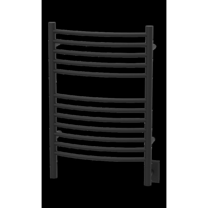 Amba E Curved 12 Bar Towel Warmer, Matte Black