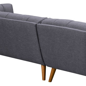 Belina Mid-Century Sectional in Champagne Wood Finish and Dark Grey Fabric